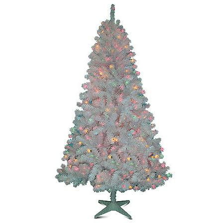 Holiday Time Pre-Lit 6.5' White Colorado Pine Artificial Christmas Tree,  Multi-