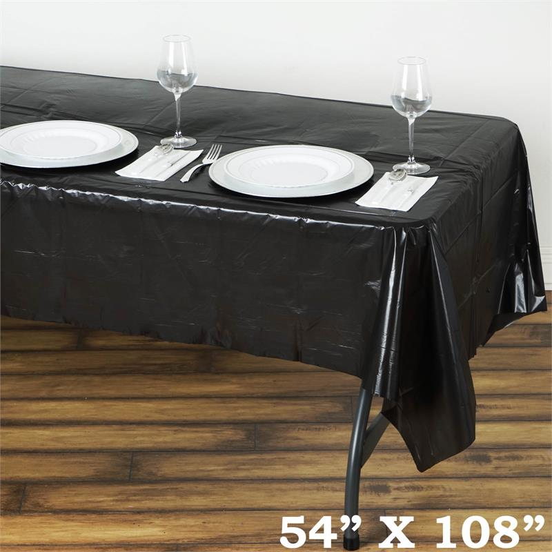 "BalsaCircle 54"" x 108"" Rectangular Disposable Plastic Tablecloth Table Cover - Party Picnic Table Covers Decorations"
