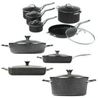 "The Rock By Starfrit 10PC Set, One Pot 9"" X 13"", 5.3QT Dish, One Pot 7.2QT Stock Pot, 5QT Dutch Oven & 5.8QT Fry Pan"