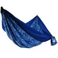 "Equip Lightweight Nylon Travel Hammock, 2 Person Blue Altered Organics Pattern, Open Size 124"" L x 77"" W"