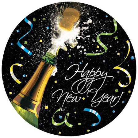 8 pc Premium strength champagne bottle and streamer New Year Eve themed paper dinner plates - 8.75-Inch Dia](Potluck Dinner Themes)