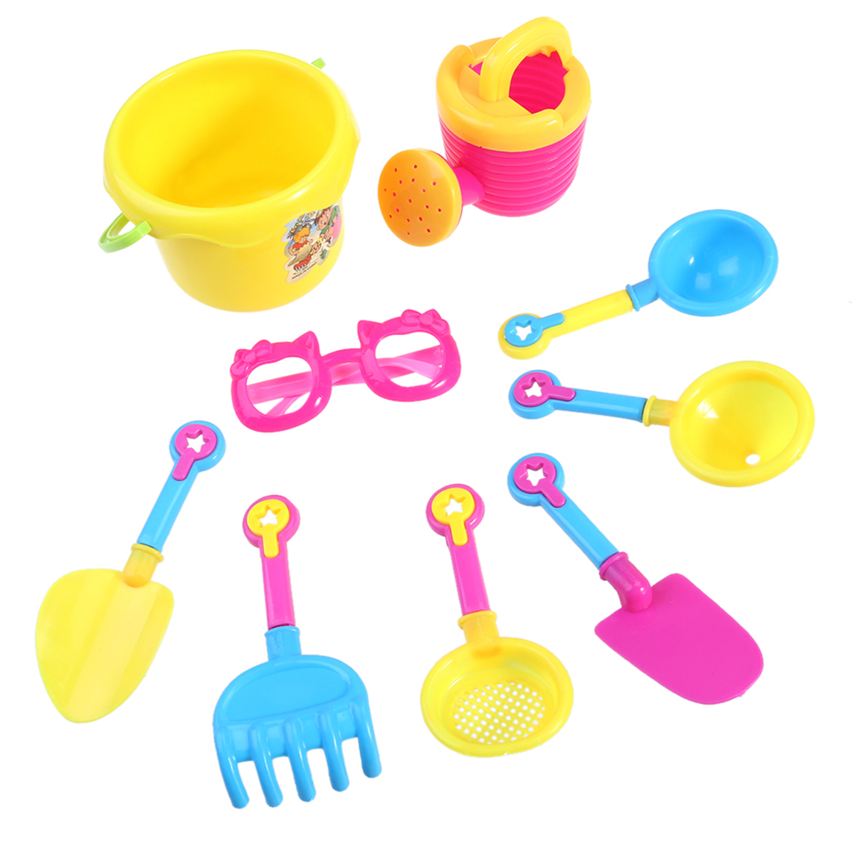 9pcs Beach Bucket Sand Castle Play Toy Set for Kids (Random Color & Tools) by