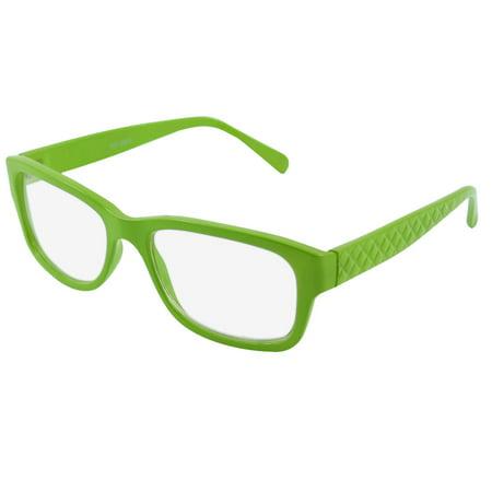 Green Plastic Unisex Full Rims Clear Lens Plain Glasses Eyeglass (Clear Spectacle Frames)