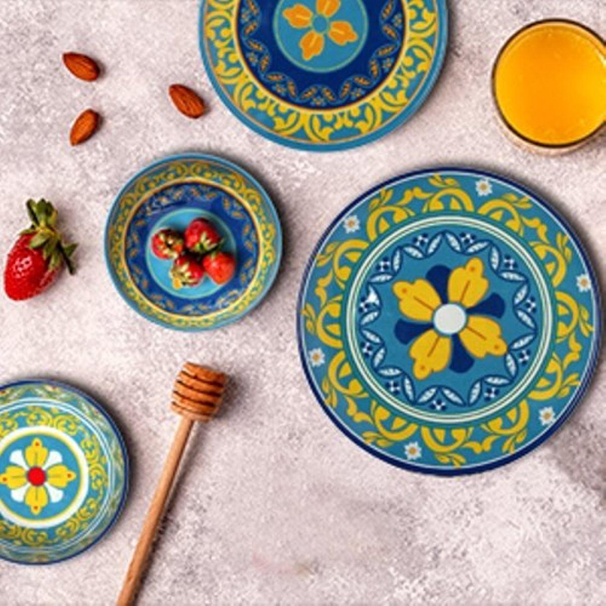 Melange Gardens Of Italy 6 Piece Melamine Dinner Plate Set Walmart Com Walmart Com
