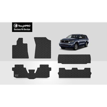 ToughPRO - TOYOTA Sequoia Full Set with Cargo Mats - All Weather - Heavy Duty - Black Rubber - 2011 2011 Toyota Sequoia Rubber