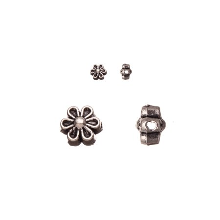 Pewter Beads, Burnished Silver Plated, Double-Sided Flower Patterned, 6,7mm Sold per pkg of 30pcs per pack