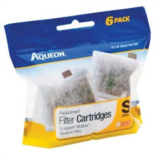 Aqueon Replacement Filter Cartridges For MiniBow Aquarium Filters, 6 Ct