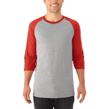 Men's Soft ¾ Sleeve Tri-blend Baseball T Shirt, 2 Pack ()