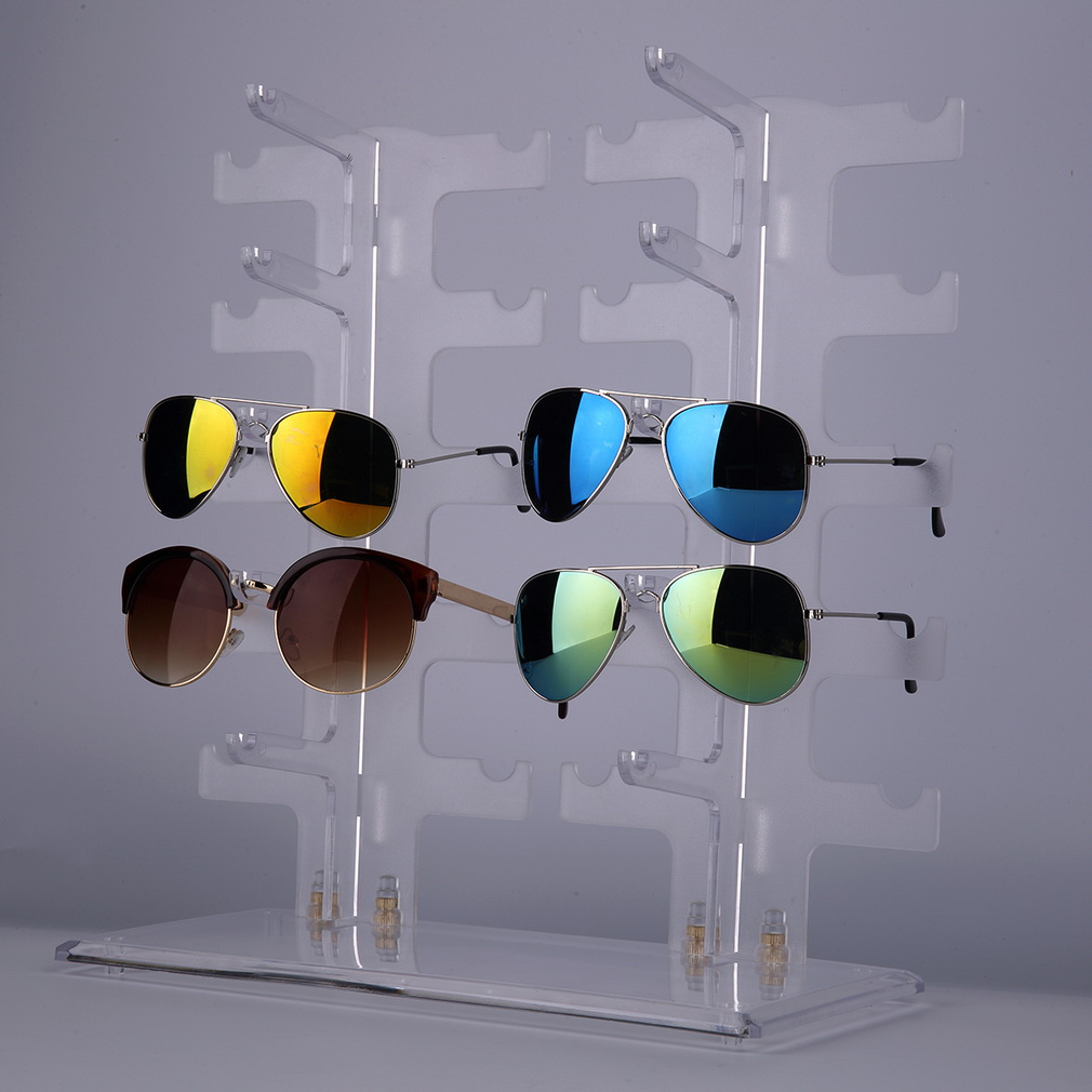 2 Row 10 Pairs Sunglasses Glasses Rack Holder Frame Display Stand Transparent by OUTAD