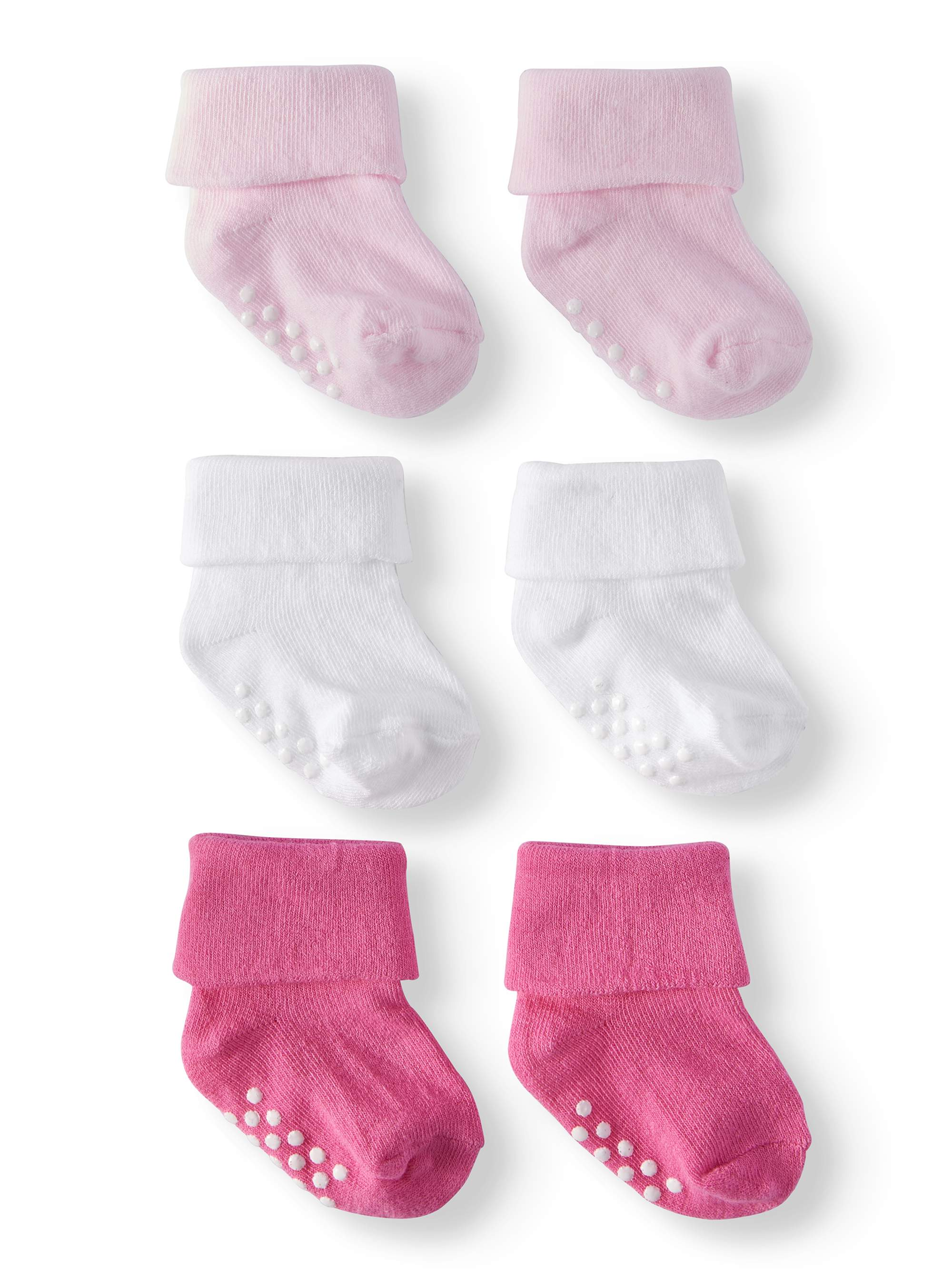 Non-Skid Turn Cuff Socks, 3-pack (Baby Boys or Baby Girls Unisex)