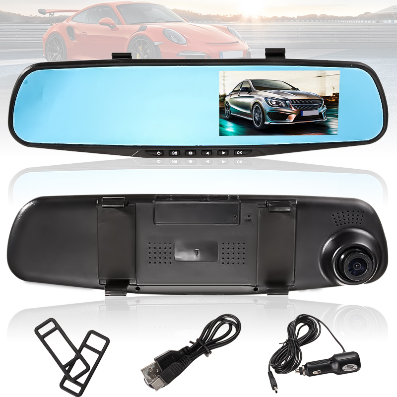 "4.3"" HD 1080P Screen Car DVR Camera Vehicle Rearview Mirror Monitor Dash Cam Video Recorder 170° Wide Angle Lens"