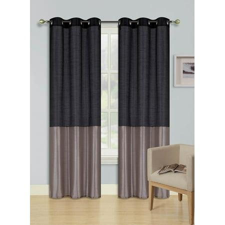 1pc BLACK TAUPE (EID) LINED FOAM BACKING BLACKOUT  Faux Silk Drape Panel Top Chrome Metallic Grommet Window Curtain Treatment Drape 2 Shade 37 wide x 84