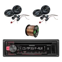 Kenwood In-Dash Single-DIN CD Player AUX Car Stereo Receiver with Autotek 6.5 Inch ATS series factory Speakers 2-Pairs and Enrock Audio 16-Gauge 50 Foot Speaker Wire Cable-CCA Copper Clad Aluminum