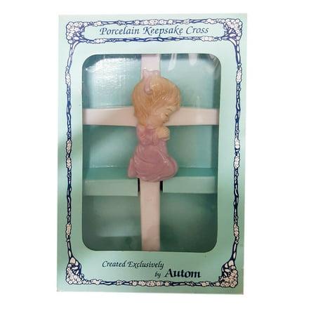 "Porcelain Keepsake Cross Girl Praying by Autom 8"""
