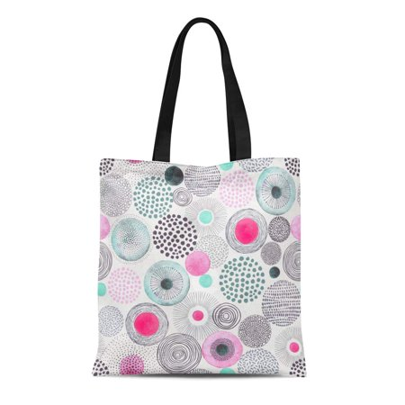NUDECOR Canvas Tote Bag Pink Flower Doodle Circles Randomly Distributed Abstraction Watercolors Gray Durable Reusable Shopping Shoulder Grocery Bag - image 1 of 1