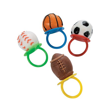 Fun Express - Sport Ball Frosted Sucker Ring - Edibles - Sucker & Pop - Ring & Pacifier Suckers - 12 Pieces - Ring Pops
