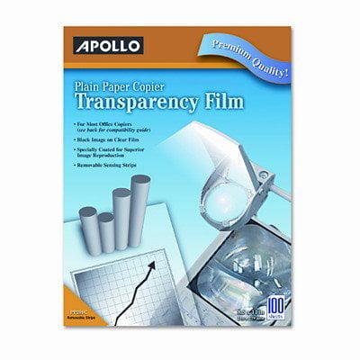 Overhead Copier Transparency Film - Apollo PP201C Laser Copier Transparency Film, Removable Sensing Stripe, Ltr, Clear, 100/Box