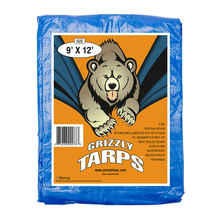 B-Air Grizzly Tarps 9 x 12 Feet Blue Multi Purpose Waterproof Poly Tarp Cover 5 Mil Thick 8 x 8 Weave