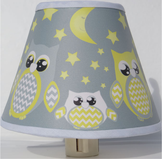 Yellow and Gray Owl Night Lights / Owl Nursery Decor with Stars and Moons
