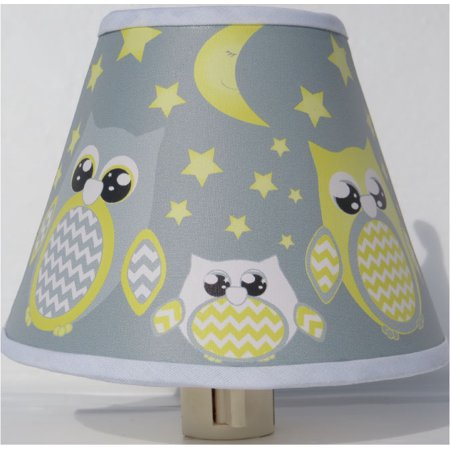 Yellow And Gray Owl Night Lights Nursery Decor With Staroons