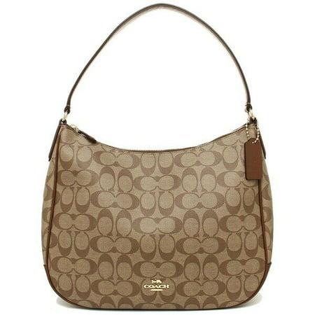 BRAND NEW WOMEN'S COACH (F29209) SIGNATURE ZIP HOBO SHOULDER BAG HANDBAG (Khaki/Saddle) Classic Signature Hobo Bag