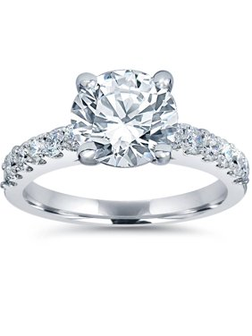 F/G-SI 2ct Diamond Engagement Ring Solitaire W/ Accents 14K White Gold