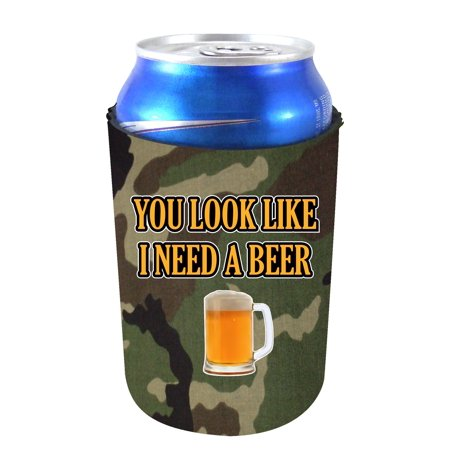 Coolie Junction You Look Like I Need A Beer Can Coolie, Neoprene Collapsible (Camo)
