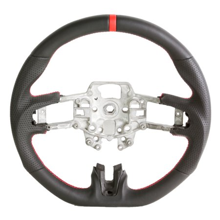Handkraftd 15-17 Ford Mustang Steering Wheel - Black Leather w/Red (Ford Mustang Brochure)