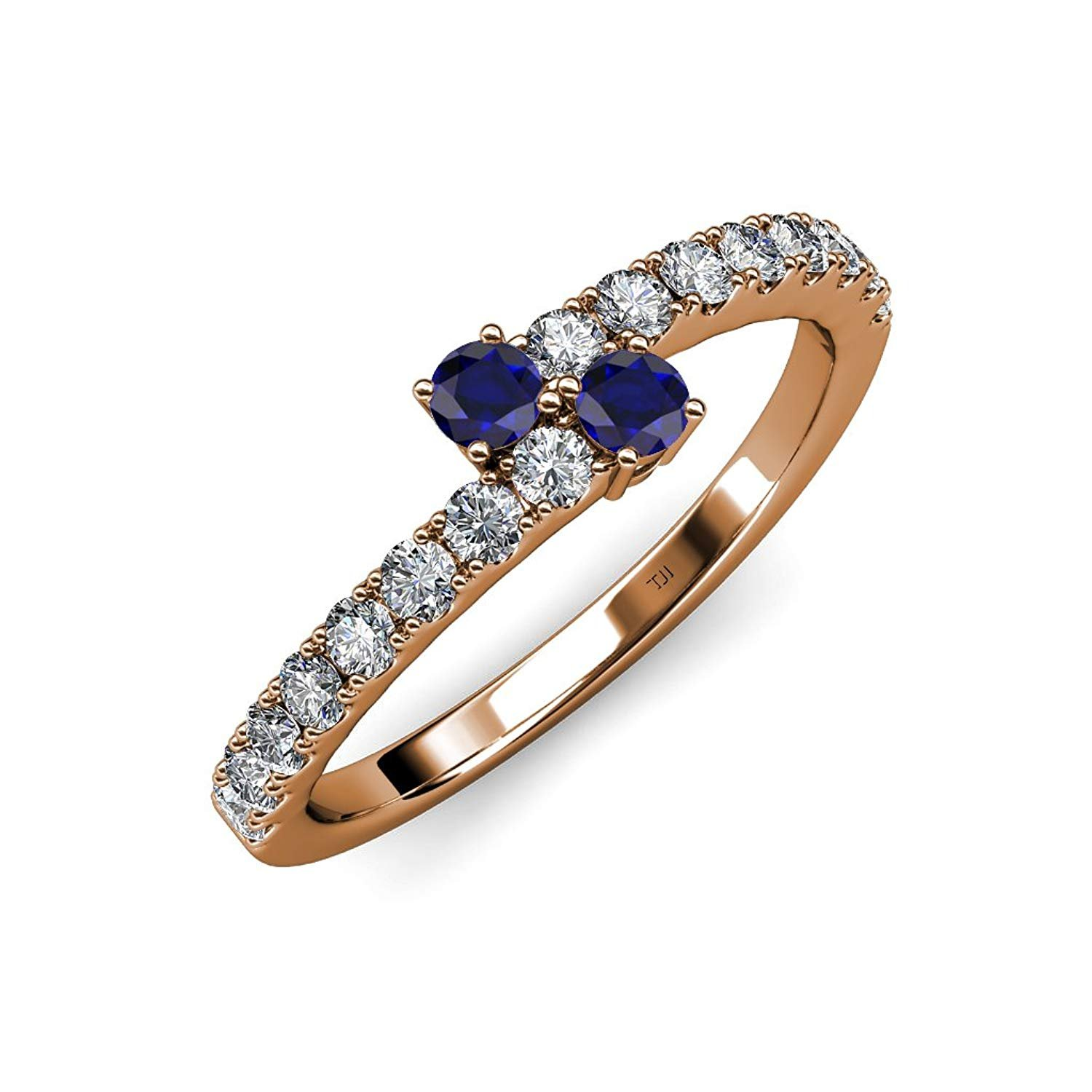 Blue Sapphire 2 Stone with Side Diamonds Bypass Engagement Ring 0.88 ct tw in 14K Rose Gold.size 6.5 by TriJewels