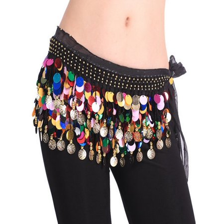 BellyLady Plus Size Belly Dance Hip Scarf With Paillettes, Christmas Gift Idea-S size for $<!---->