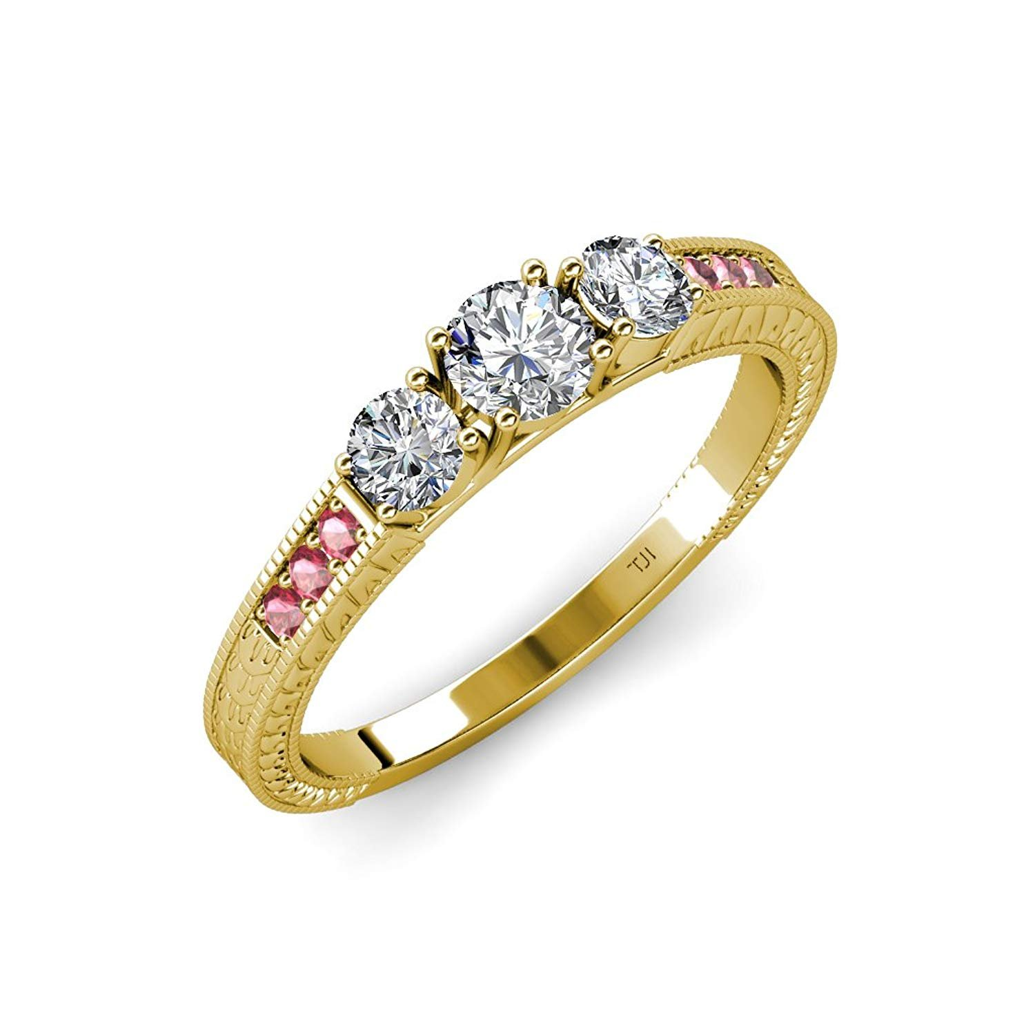 Diamond Milgrain Three Stone Ring with Pink Tourmaline on Side Bar 0.85 ct tw in 14K Yellow Gold.size 8.0 by TriJewels