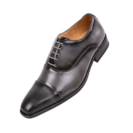 Amali Men's Smooth Faux Leather Cap Toe Oxford Dress Shoes Available in Black, Grey, Tan, Purple,