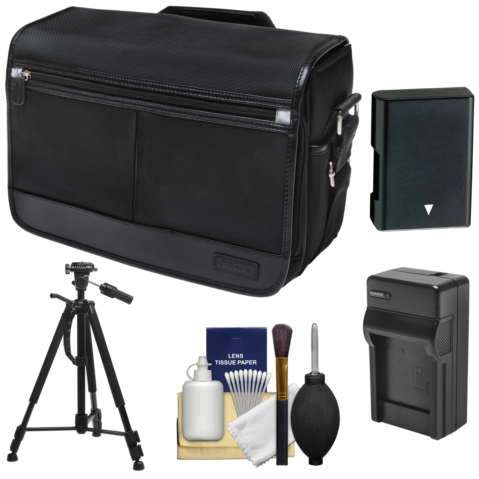 Nikon DSLR Camera/Tablet Messenger Shoulder Bag with EN-EL14 Battery & Charger + Tripod + Kit for Df, D3100, D3200, D3300, D5100, D5200, D5300, D5500