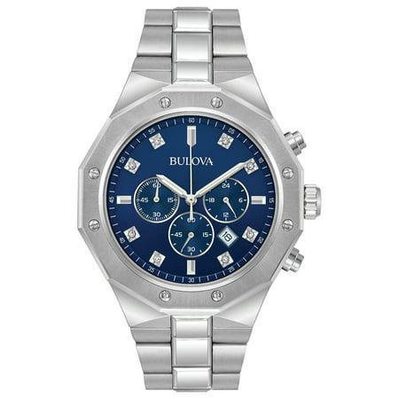 Bulova Men's Quartz Blue/Silver Stainless Steel Analog Quartz Watch 96D138