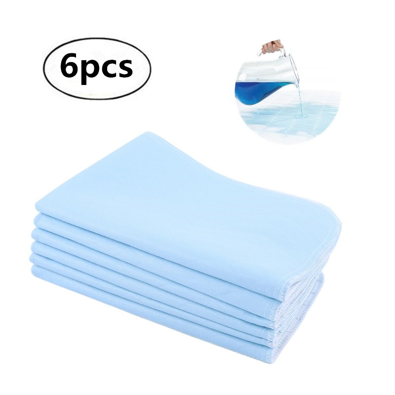 6pcs Bed Pads For Incontinence Washable Reusable