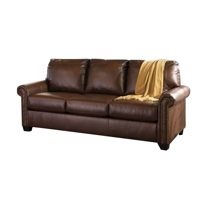 Ashley Lottie Leather Queen Sleeper Sofa in Chocolate Walmartcom