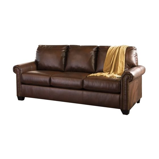 Ashley Lottie Leather Queen Sleeper Sofa In Chocolate