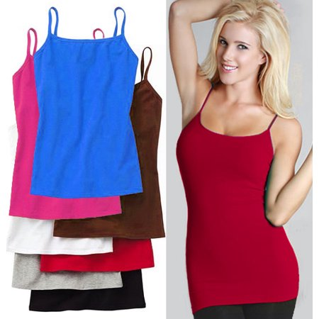 449003ea0ace82 CCTX - Women s Basic Stretch Camisole Tank Top Spaghetti Strap Long Cami  Plain One Size - Walmart.com