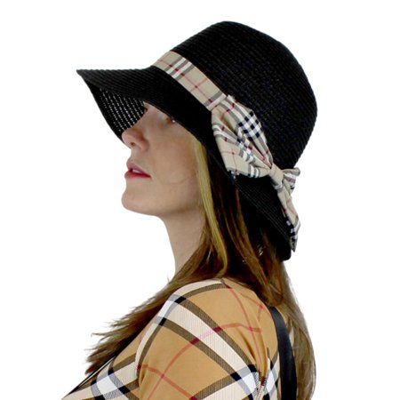 Cute Straw Hat Bucket with Bow for Women