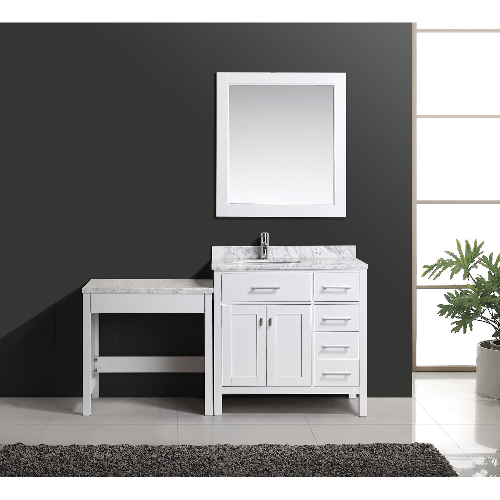 Design Element London 36-in. Single Bathroom Vanity Set with Make-Up Table