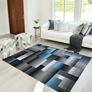 Handcraft Rugs Blue/Silver/Gray Abstract Geometric Modern Squares Pattern Area Rug 8 ft. by 10 ft.