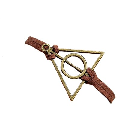 Harry Potter Deathly Hollows Bracelet Brass Charm with Brown Rope Bracelet