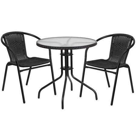Flash Furniture Table and 2 Stack Chair Set