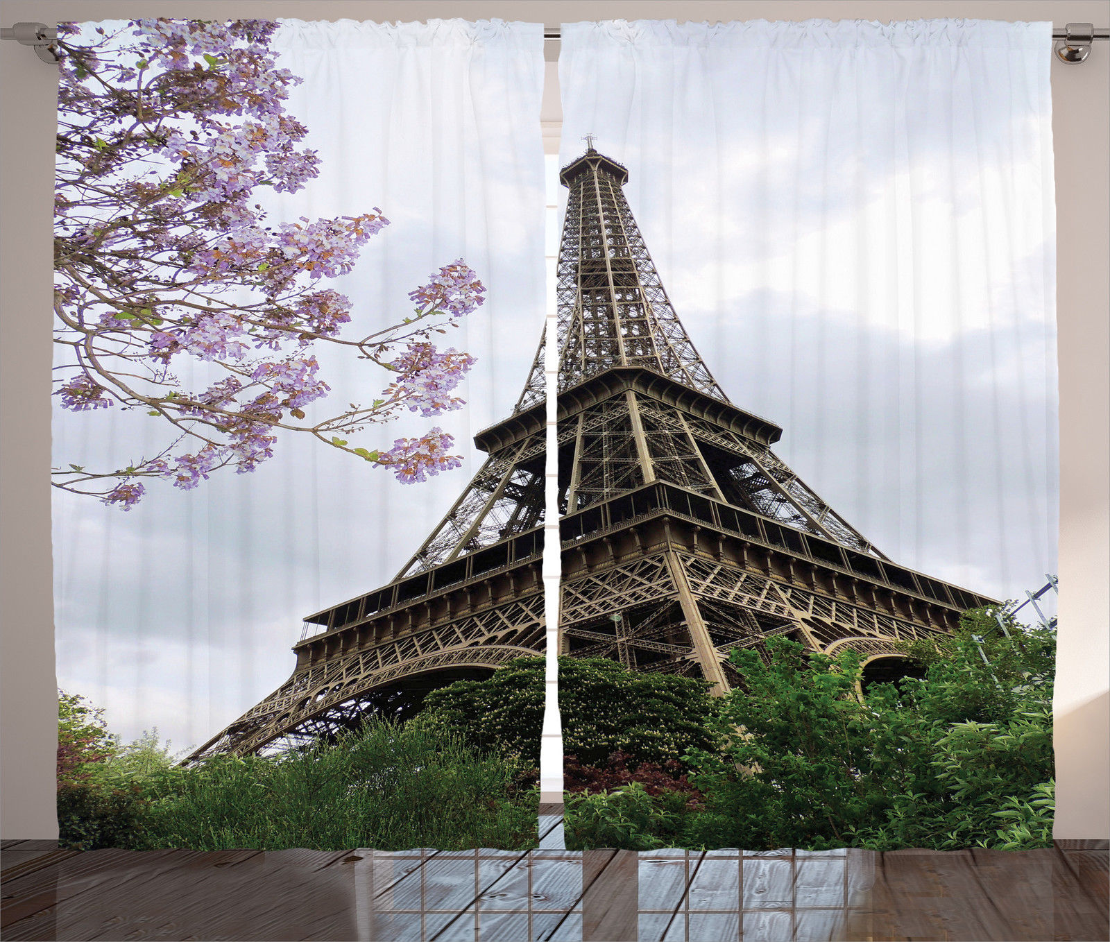 Attractive Eiffel Tower Decor Curtains 2 Panels Set, Eiffel Natural Flowers Colorful  Blossoms Cloudy Sky Perspective