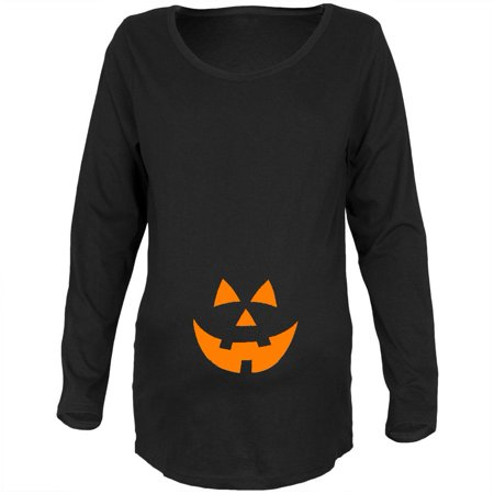 Halloween Belly Jack-O-Lantern Orange Glow Black Maternity Soft Long Sleeve T-Shirt - Pregnant Halloween Painted Bellies