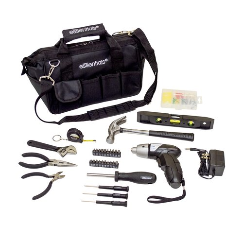 Essentials 34-PieceAround the House Tool Kit with Cordless Screwdriver, black
