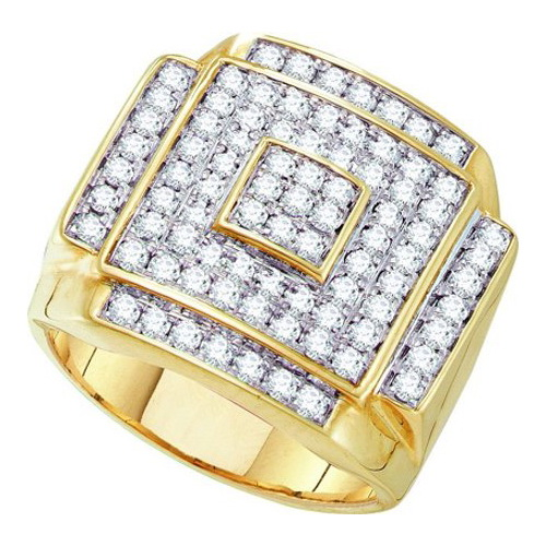 10K Yellow Gold 1.75ctw Fancy Shiny Diamond Micro Pave Hip Hop Fashion Ring by Jewelrypot