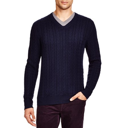 Bloomingdales Mens Wool & Cashmere Cable V-Neck Sweater XX-Large 2XL True Navy Mens Luxury Wool Cashmere