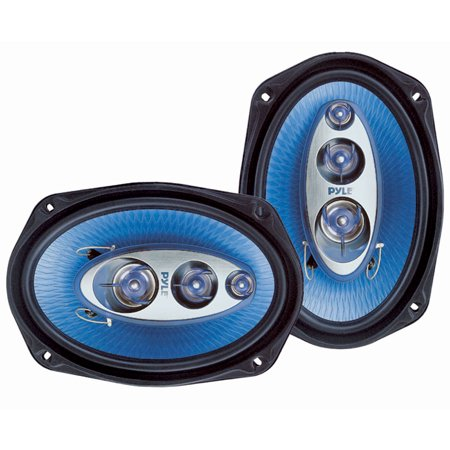 "PYLE PL6984BL - 6"" x 9"" Car Sound Speaker (Pair) - Upgraded Blue Poly Injection Cone 4-Way 400 Watts w/Non-fatiguing Butyl Rubber Surround 50-20Khz Frequency Response 4 Ohm & 1.25"" ASV Voice (Best Sounding 6x9 Car Speakers)"