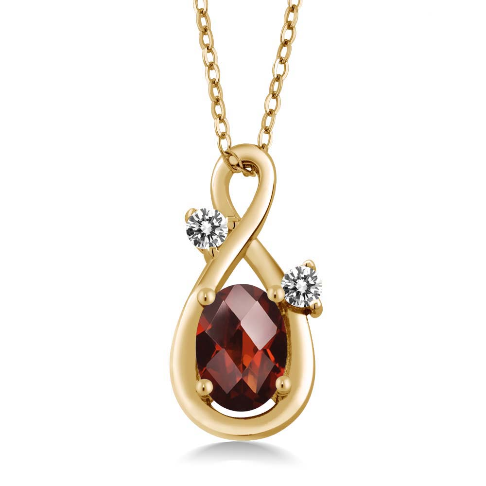 0.87 Ct Oval Checkerboard Red Garnet White Diamond 14K Yellow Gold Pendant